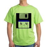 Kawaii Floppy Disk (Blue) Green T-Shirt