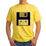 Kawaii Floppy Disk (Blue) Yellow T-Shirt