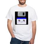 Kawaii Floppy Disk (Blue) White T-Shirt