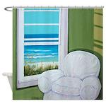 Window Sea Beach Art Shower Curtain