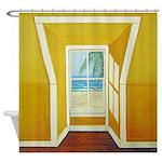 Window to the Sea Palm Tree Shower Curtain