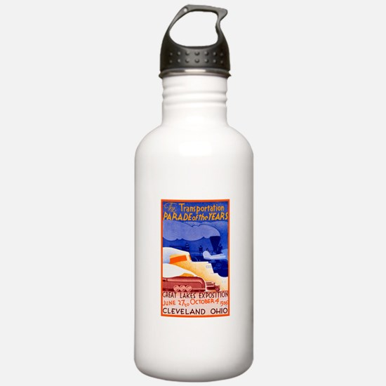 Cleveland Travel Poster 1 Water Bottle