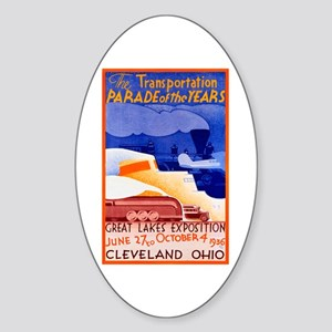 Cleveland Travel Poster 1 Sticker (Oval)