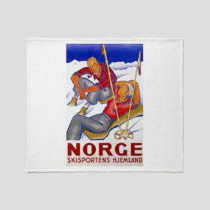 Norway Travel Poster 1 Throw Blanket