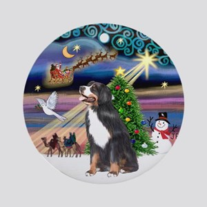 Xmas Magic Bernese Mt. Dog Ornament (Round)