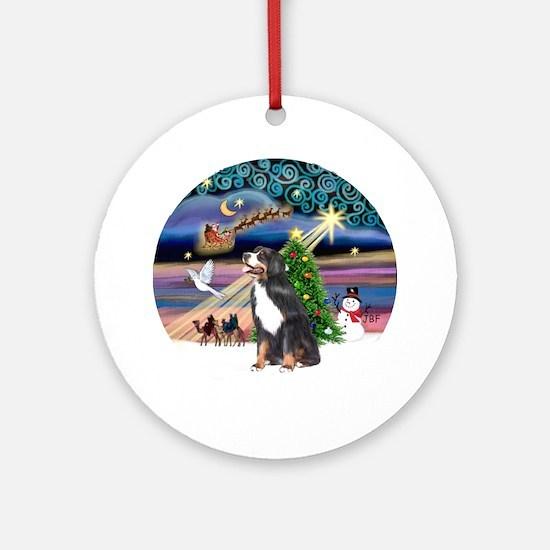 Xmas Magic Bernese Mt. Dog Ornament (Round)