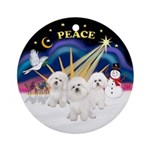 XmasSunrise-THREE Bichon Frise Ornament (Round)