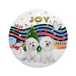 XmasMusic1-Two Bichon Frise Ornament (Round)