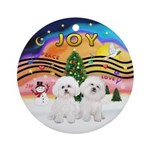Xmas Music 2 - Two Bichons Ornament (Round)