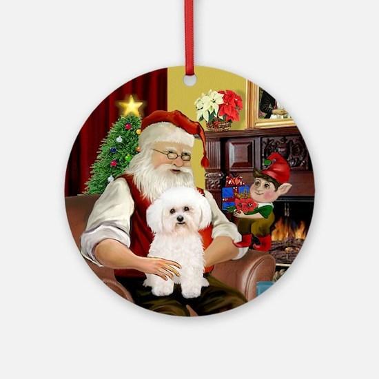 Santa's Bichon Frise (2) Ornament (Round)