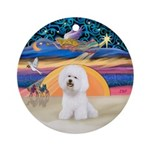 Bichon Frise Christmas Star Ornament (round)