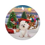 Bichon Frise & Santa's Treat Keepsake (Round)