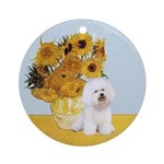 Sunflowers & Bichon Frise Ornament (Round)
