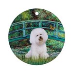 Monet's Lily Pond Bridge & Bichon Ornament (Ro