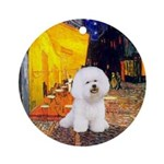 Cafe & Bichon Frise (#1) Ornament (Round)