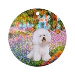 Bichon Frise in Monet's Garden Ornament (Round)
