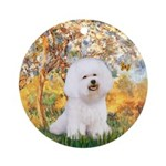 Spring with a Bichon Frise (#1) Ornament (Round)
