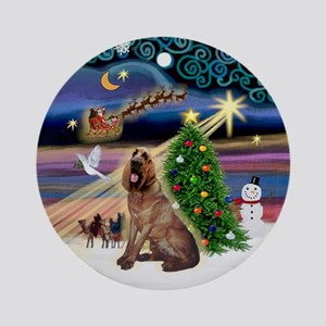 Xmas Magic Bloodhound Ornament (Round)