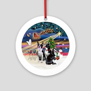 Xmas Magic - 3 Boston Terriers Ornament (Round)