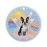 Boston terrier angel Round Ornaments