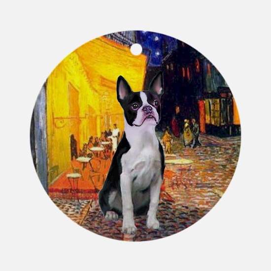 Cafe & Boston Terrier Ornament (Round)