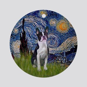 Starry Night and Boston Terrier Ornament (Round)