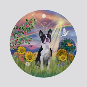 Cloud Angel & Boston Terrier Ornament (Round)