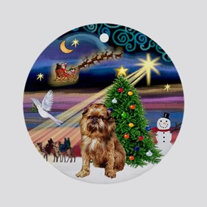 Xmas Magic & Brussels Griffon Ornament (Round)