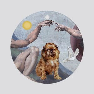 """""""Creation"""" and Brussels Griffon Ornament (Round)"""