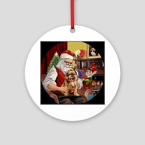 Santa's Brussels Griffon Ornament (Round)