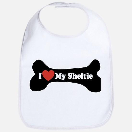 I Love My Sheltie - Dog Bone Bib