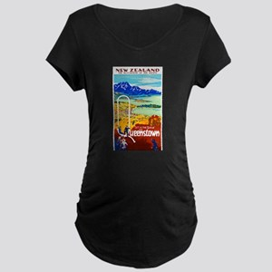 New Zealand Travel Poster 6 Maternity Dark T-Shirt