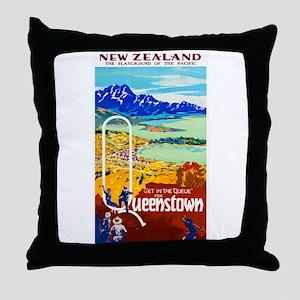 New Zealand Travel Poster 6 Throw Pillow