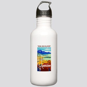 New Zealand Travel Poster 6 Stainless Water Bottle