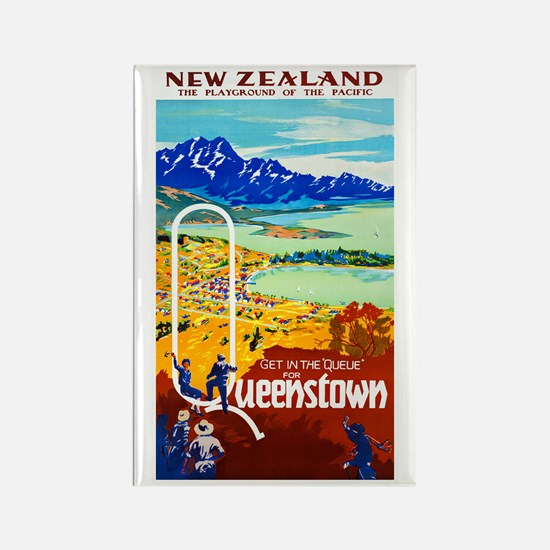 New Zealand Travel Poster 6 Rectangle Magnet