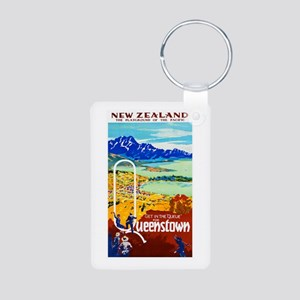 New Zealand Travel Poster 6 Aluminum Photo Keychai