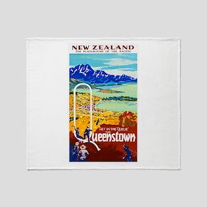 New Zealand Travel Poster 6 Throw Blanket