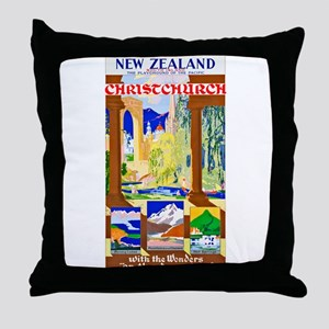 New Zealand Travel Poster 1 Throw Pillow