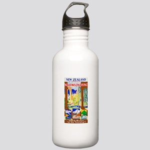 New Zealand Travel Poster 1 Stainless Water Bottle