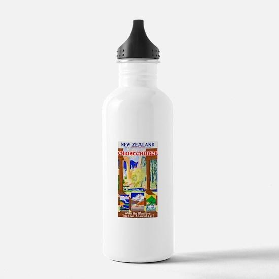 New Zealand Travel Poster 1 Water Bottle