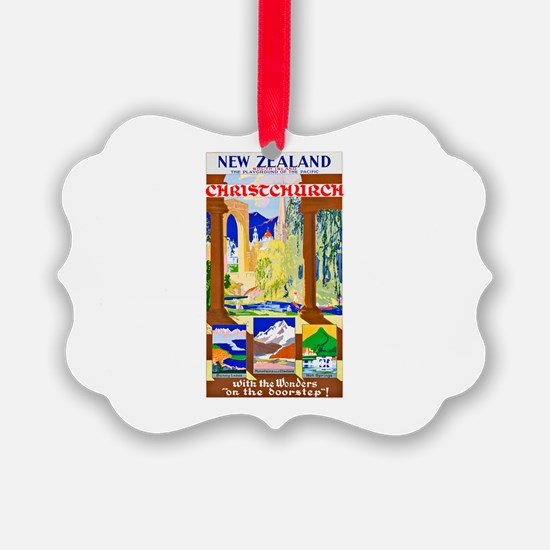 New Zealand Travel Poster 1 Ornament