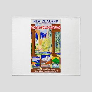 New Zealand Travel Poster 1 Throw Blanket