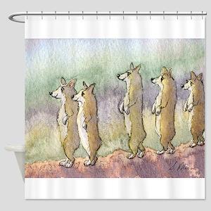 Corgi dogs having a meerkat moment Shower Curtain