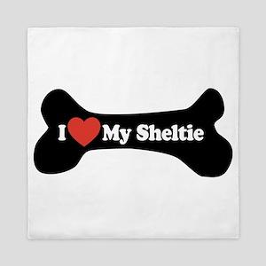 I Love My Sheltie - Dog Bone Queen Duvet