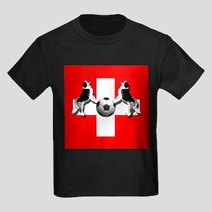 Swiss Football Flag Kids Dark T-Shirt