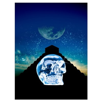 Crystal skull and Maya pyramid, artwork Framed Print