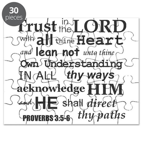 Proverbs 3:5-6 KJV Dark Gray Print Puzzle by