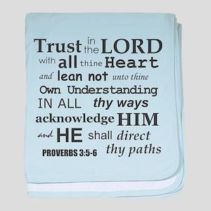 Proverbs 3:5-6 KJV Dark Gray Print baby blanket