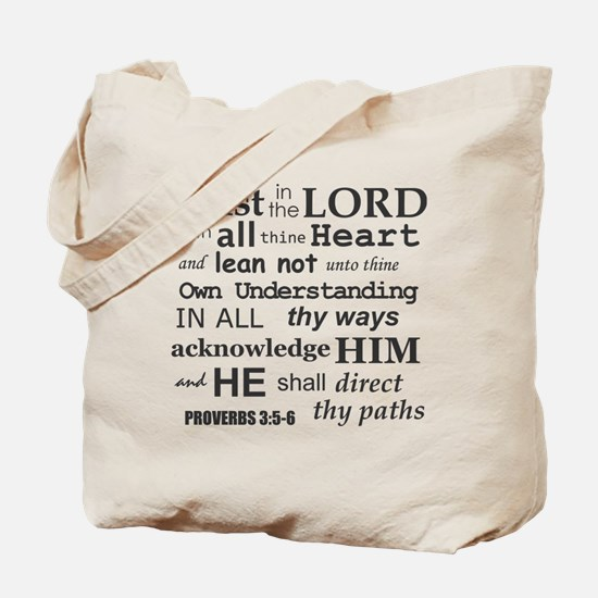 Proverbs 3:5-6 KJV Dark Gray Print Tote Bag