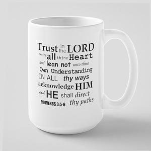 Proverbs 3:5-6 KJV Dark Gray Print Large Mug